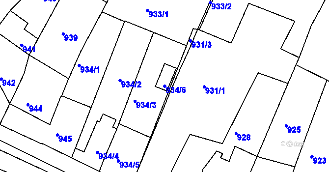 Parcela st. 934/6 v k.ú. Miroslav, Katastrální mapa