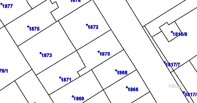 Parcela st. 1870 v k.ú. Miroslav, Katastrální mapa