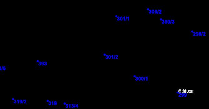 Parcela st. 301/2 v k.ú. Miroslav, Katastrální mapa