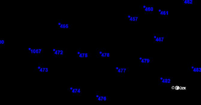 Parcela st. 478 v k.ú. Miroslavské Knínice, Katastrální mapa