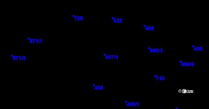 Parcela st. 407/1 v k.ú. Debř, Katastrální mapa