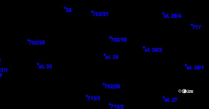 Parcela st. 26 v k.ú. Mlázovy, Katastrální mapa