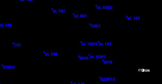 Parcela st. 150/2 v k.ú. Mohelno, Katastrální mapa