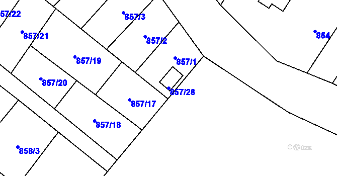 Parcela st. 857/28 v k.ú. Moravský Beroun, Katastrální mapa