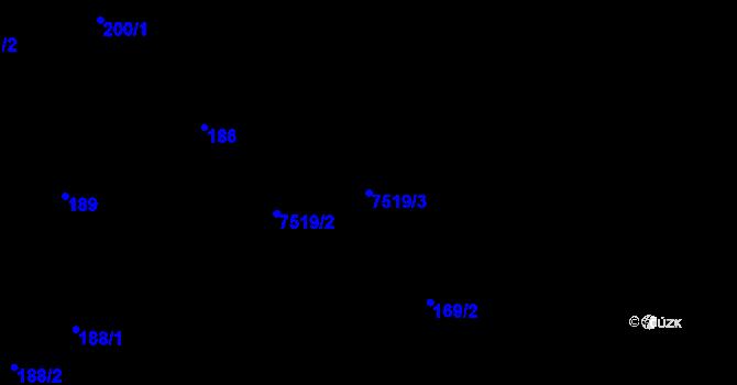 Parcela st. 7519/3 v k.ú. Most II, Katastrální mapa