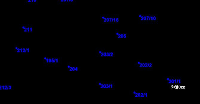 Parcela st. 203/2 v k.ú. Most II, Katastrální mapa
