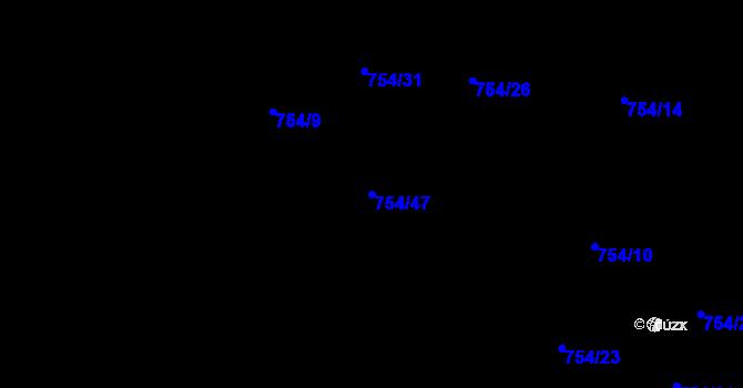 Parcela st. 754/47 v k.ú. Most II, Katastrální mapa
