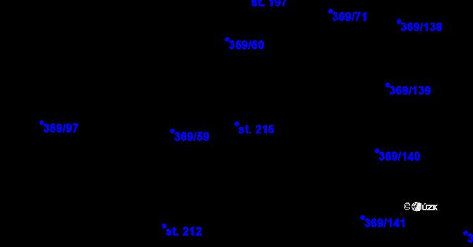 Parcela st. 215 v k.ú. Nedvězí u Olomouce, Katastrální mapa