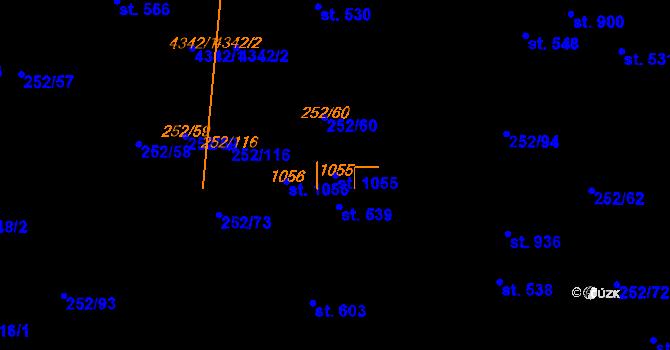 Parcela st. 1055 v k.ú. Němčice nad Hanou, Katastrální mapa