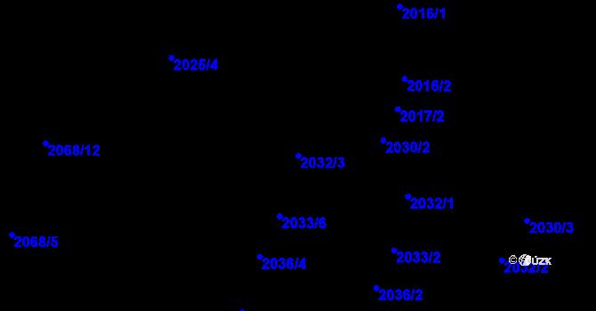 Parcela st. 2032/3 v k.ú. Nivnice, Katastrální mapa