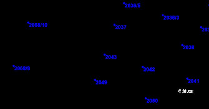 Parcela st. 2043 v k.ú. Nivnice, Katastrální mapa