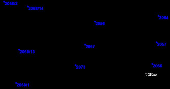 Parcela st. 2067 v k.ú. Nivnice, Katastrální mapa