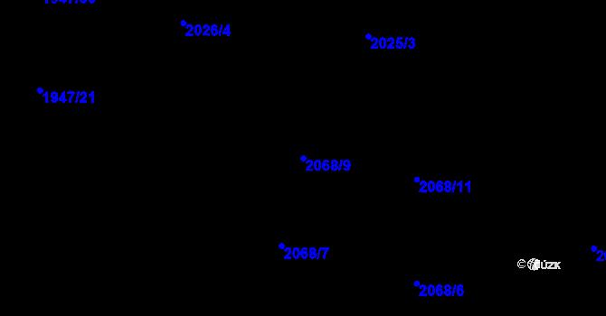 Parcela st. 2068/9 v k.ú. Nivnice, Katastrální mapa