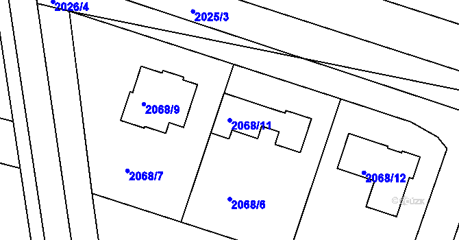 Parcela st. 2068/11 v k.ú. Nivnice, Katastrální mapa