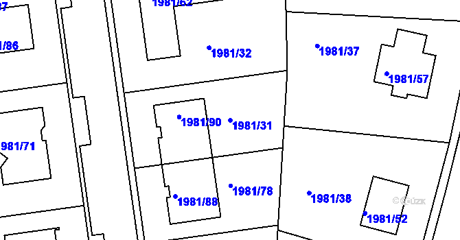 Parcela st. 1981/31 v k.ú. Nivnice, Katastrální mapa