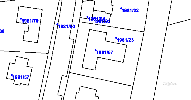 Parcela st. 1981/67 v k.ú. Nivnice, Katastrální mapa