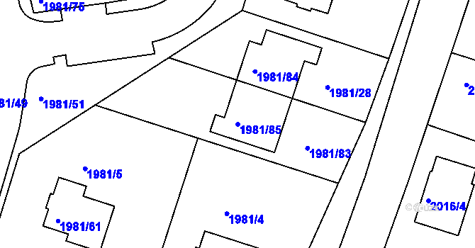 Parcela st. 1981/85 v k.ú. Nivnice, Katastrální mapa