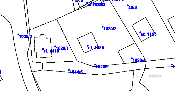 Parcela st. 1385 v k.ú. Nová Role, Katastrální mapa