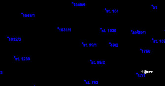 Parcela st. 99/1 v k.ú. Nová Role, Katastrální mapa