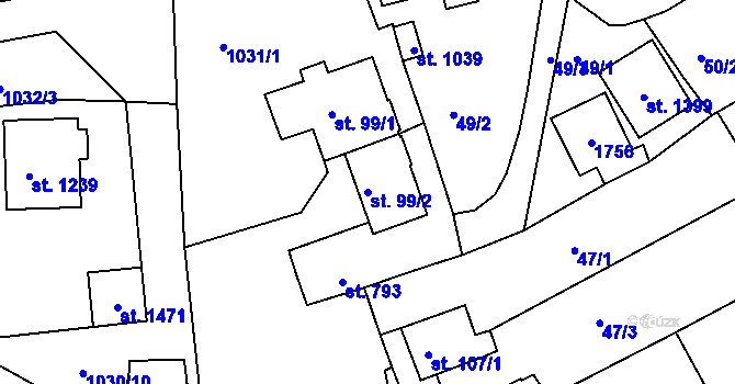 Parcela st. 99/2 v k.ú. Nová Role, Katastrální mapa