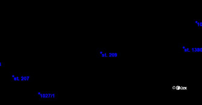 Parcela st. 209 v k.ú. Nová Role, Katastrální mapa