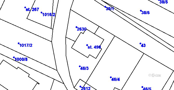 Parcela st. 490 v k.ú. Nová Říše, Katastrální mapa