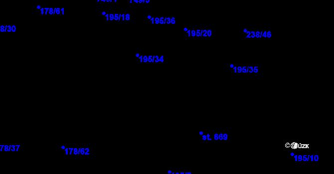 Parcela st. 195/7 v k.ú. Nová Ves pod Pleší, Katastrální mapa