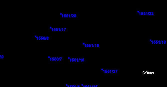 Parcela st. 1551/19 v k.ú. Nová Ves u Nového Města na Moravě, Katastrální mapa