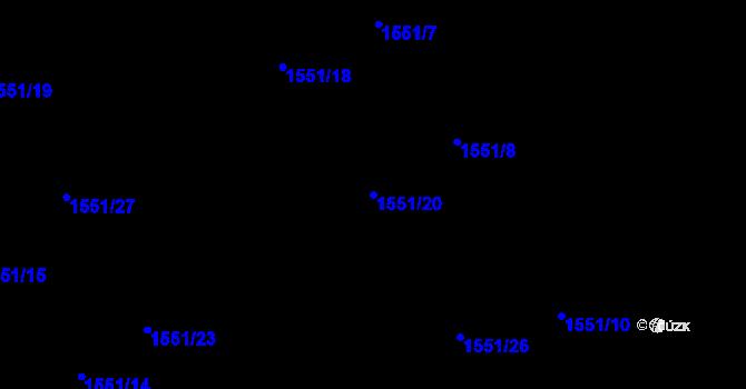 Parcela st. 1551/20 v k.ú. Nová Ves u Nového Města na Moravě, Katastrální mapa
