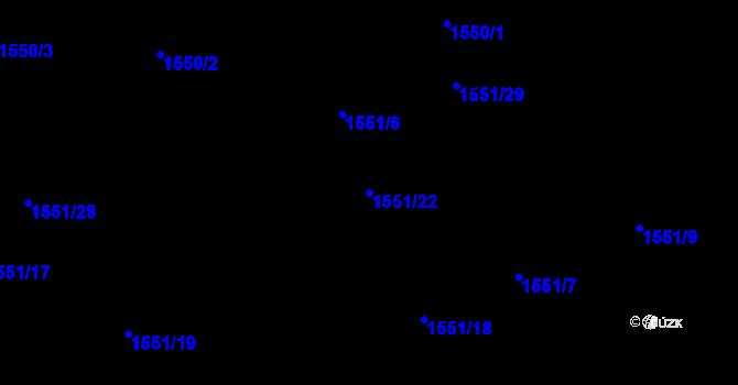 Parcela st. 1551/22 v k.ú. Nová Ves u Nového Města na Moravě, Katastrální mapa