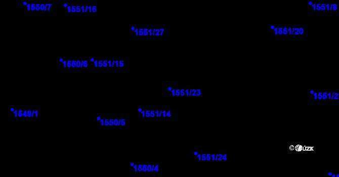 Parcela st. 1551/23 v k.ú. Nová Ves u Nového Města na Moravě, Katastrální mapa