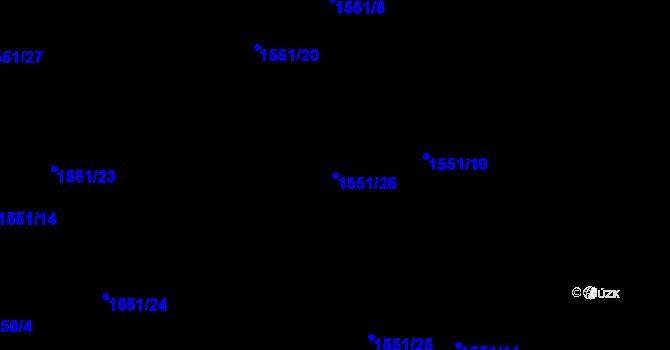 Parcela st. 1551/26 v k.ú. Nová Ves u Nového Města na Moravě, Katastrální mapa