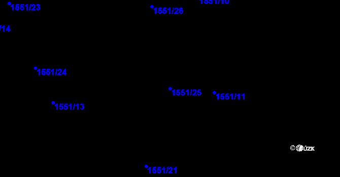 Parcela st. 1551/25 v k.ú. Nová Ves u Nového Města na Moravě, Katastrální mapa