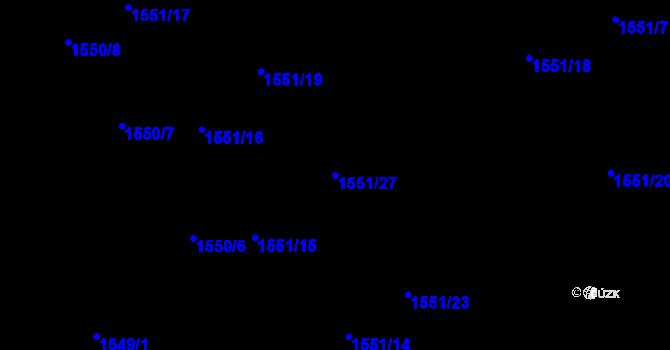 Parcela st. 1551/27 v k.ú. Nová Ves u Nového Města na Moravě, Katastrální mapa