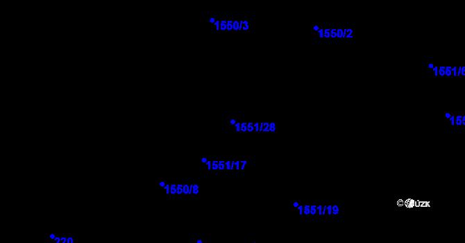 Parcela st. 1551/28 v k.ú. Nová Ves u Nového Města na Moravě, Katastrální mapa