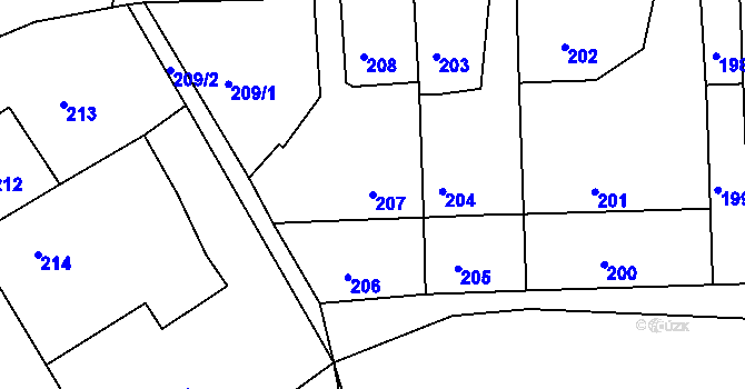 Parcela st. 207 v k.ú. Nová Ves u Nového Města na Moravě, Katastrální mapa