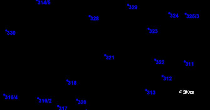 Parcela st. 321 v k.ú. Nová Ves u Nového Města na Moravě, Katastrální mapa