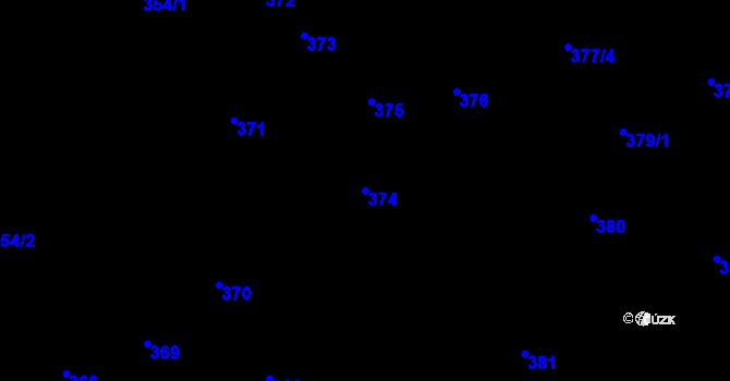 Parcela st. 374 v k.ú. Nová Ves u Nového Města na Moravě, Katastrální mapa