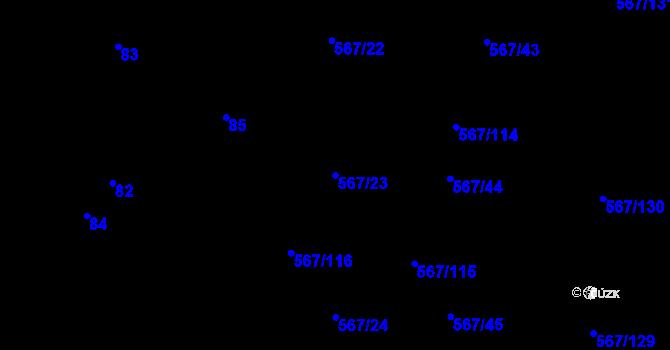 Parcela st. 567/23 v k.ú. Nové Dvory u Kutné Hory, Katastrální mapa