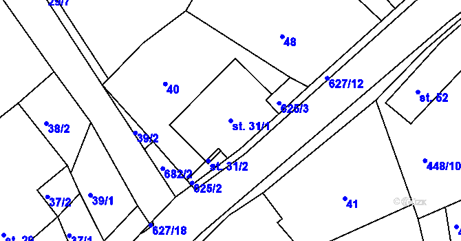 Parcela st. 31/1 v k.ú. Svatý Jiří, Katastrální mapa