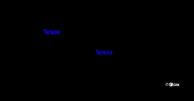 Parcela st. 678/13 v k.ú. Obory, Katastrální mapa