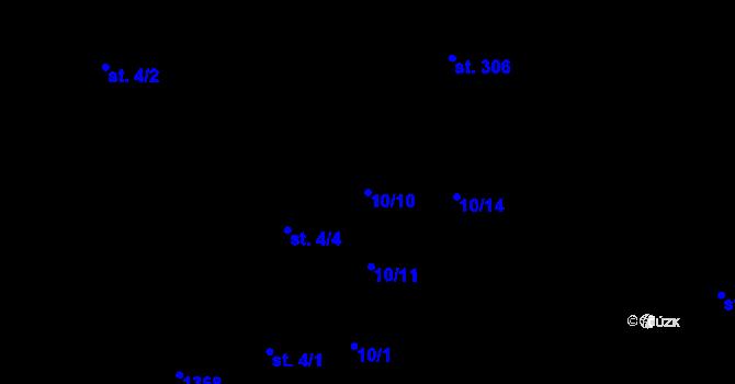 Parcela st. 10/10 v k.ú. Okříšky, Katastrální mapa