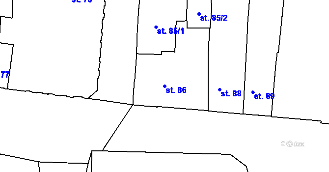 Parcela st. 86 v k.ú. Olomouc-město, Katastrální mapa