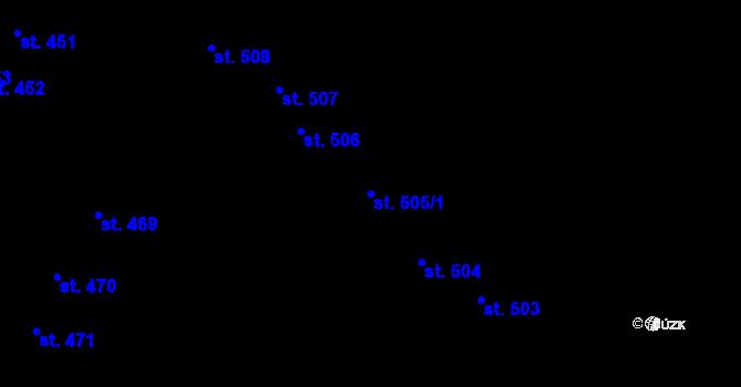 Parcela st. 505/1 v k.ú. Olomouc-město, Katastrální mapa