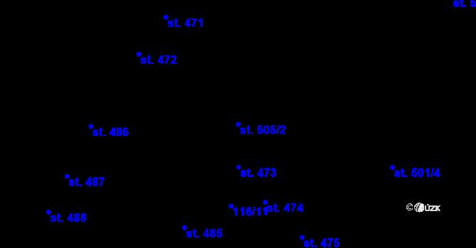 Parcela st. 505/2 v k.ú. Olomouc-město, Katastrální mapa