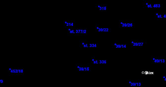 Parcela st. 334 v k.ú. Lazce, Katastrální mapa