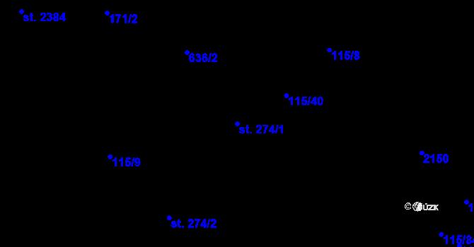 Parcela st. 274/1 v k.ú. Nová Ulice, Katastrální mapa