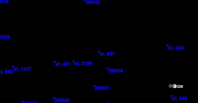 Parcela st. 667 v k.ú. Nová Ulice, Katastrální mapa