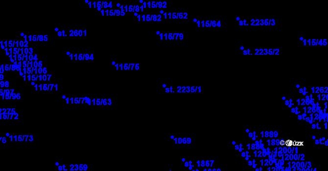 Parcela st. 2235/1 v k.ú. Nová Ulice, Katastrální mapa