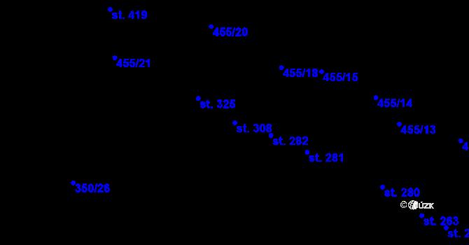 Parcela st. 308 v k.ú. Povel, Katastrální mapa